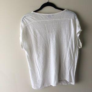 Vince Tops - vince. White Linen V Neck T shirt